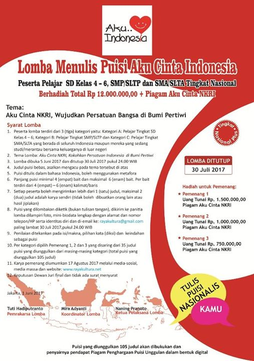 Puisi Puisi Para Pemenang Lomba Menulis Puisi Aku Cinta Indonesia